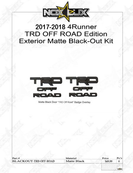 4Runner 2017-2018 TRD Off Road Black Out Kit Shadow Sheet 6 Pieces - Nox Lux