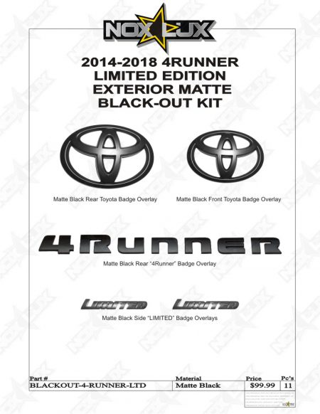 2014-2018 4Runner Limited Black Out Kit Shadow Sheet - Nox Lux