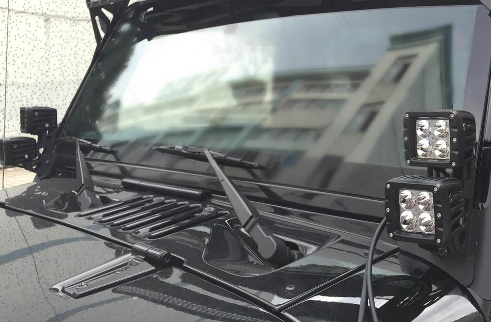Jeep Windshield Pillar Mount Brackets For Dual Led Lights