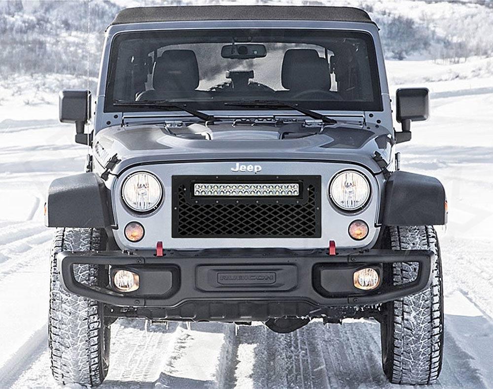 2007 2016 Jeep Wrangler Jk Black Out Led Flat Grille Kit Nox Lux
