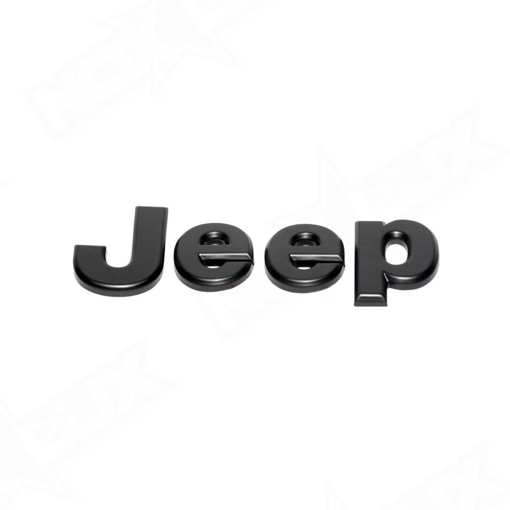 Jeep Wrangler Fog Lights >> 2007-2017 Jeep Wrangler JK Matte Black Emblem Overlay Kit - Nox Lux