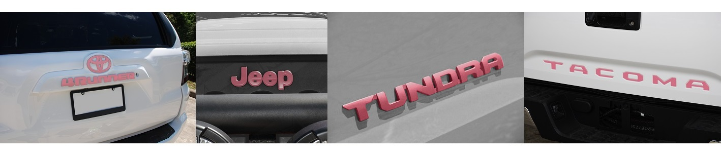 pink jeep and toyota emblems