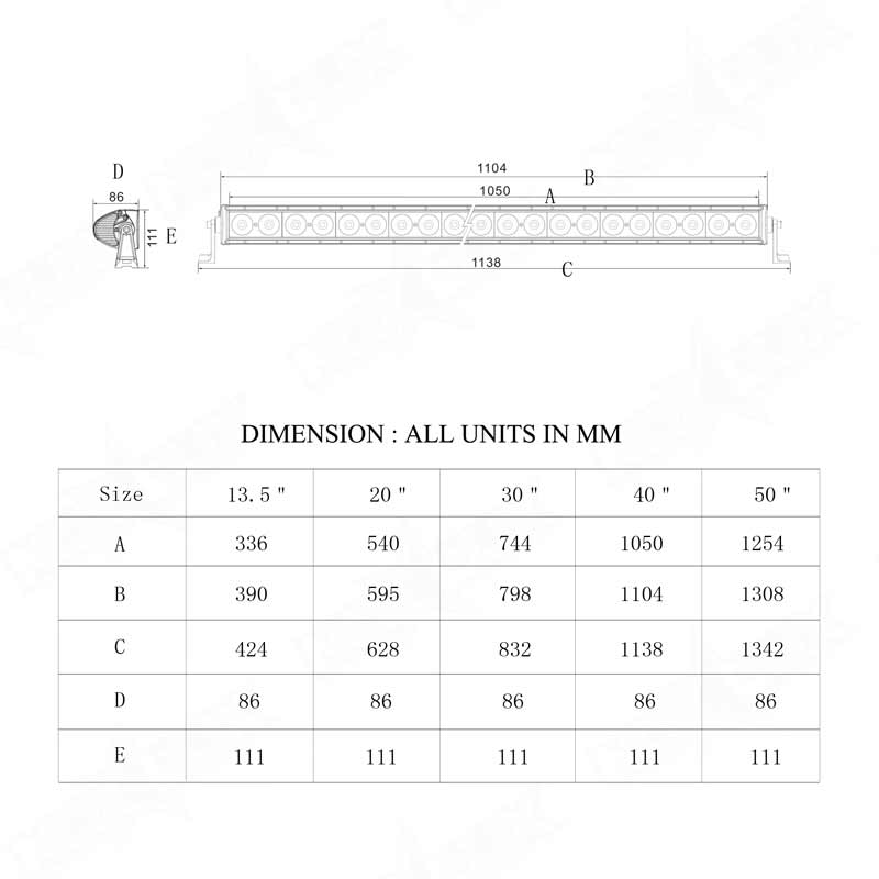 off road 40 inch light bar Dimensional Drawings