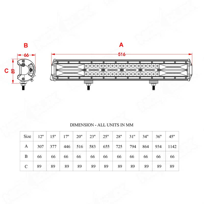 Off Road 20 Inch Triple Row Light Bar Dimensional Drawings