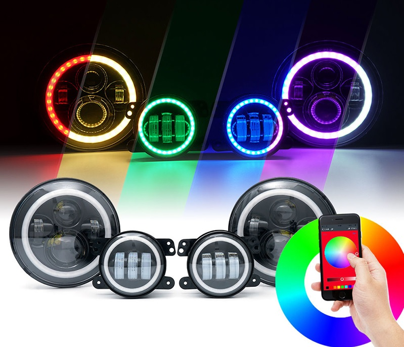 Jeep JK RGB halo LED headlights